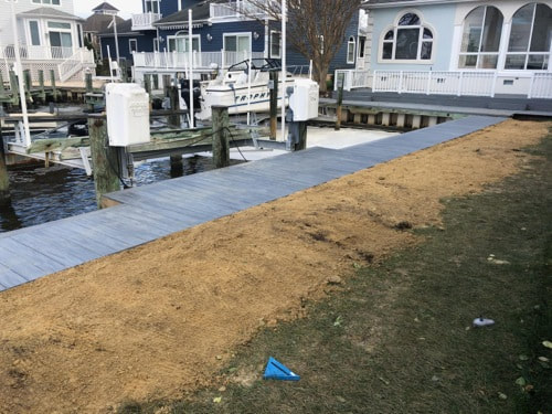 New vinyl bulkhead and wolf decking in Ocean City, MD
